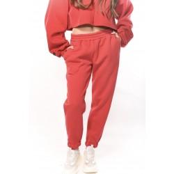 LUMINA - Pantalone Tuta Rubino